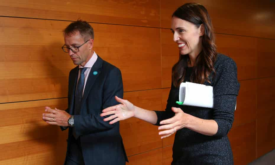 New Zealand's director general of health Ashley Bloomfield with prime minister Jacinda Ardern