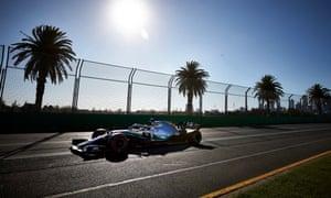 Lewis Hamilton's Mercedes takes part in practice for Sunday's Australian Grand Prix in Melbourne.