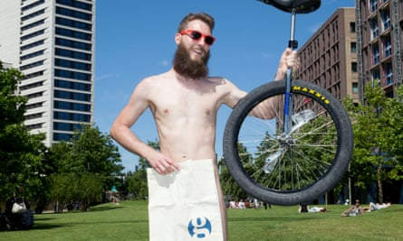 Darrell and his unicycle at the London World Naked Bike Ride on 10 June 2017.