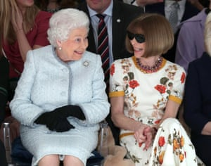 Sharing a laugh with the Queen – who had made Wintour a dame the previous year – at the February 2018 show of the British designer Richard Quinn.