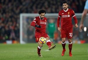 Salah scores the fourth.