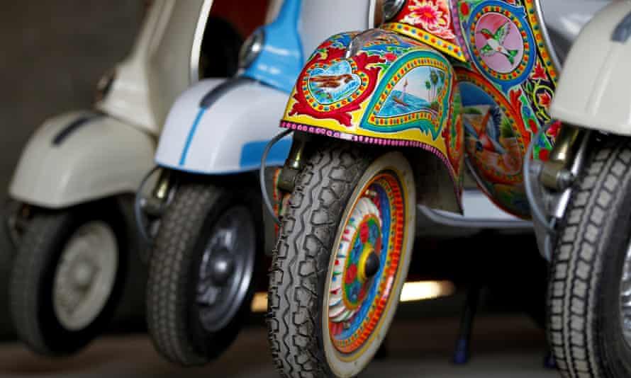 A restored Vespa painted in Pakistani truck-art style in Islamabad, Pakistan.