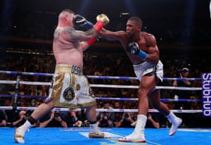 Andy Ruiz Jr receives a big right from Anthony Joshua.