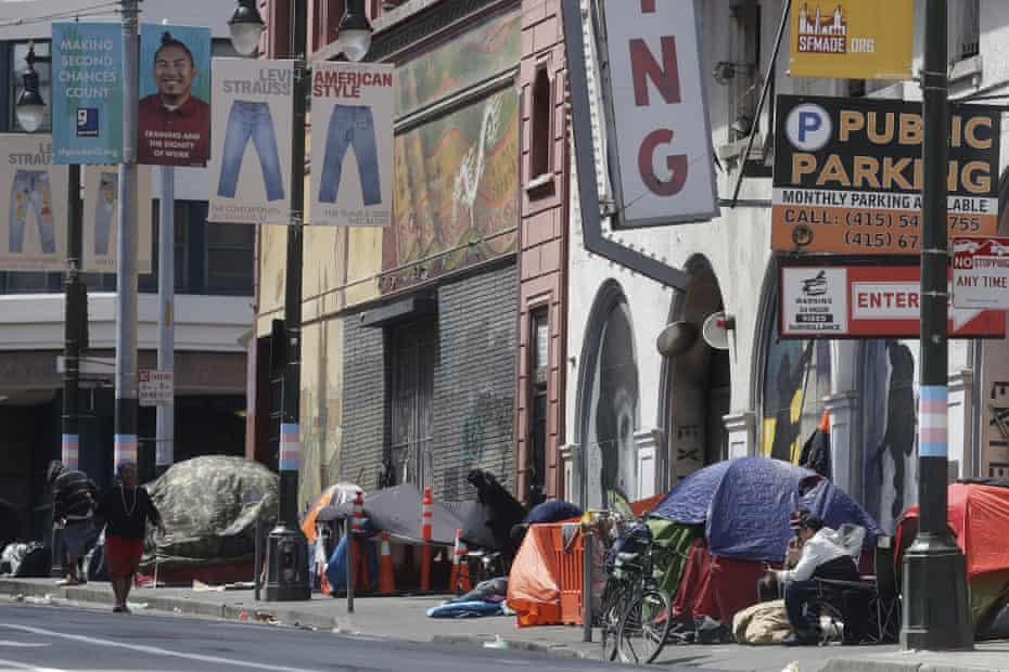 Tents line a sidewalk on Golden Gate Avenue in San Francisco, 18 April 2020.