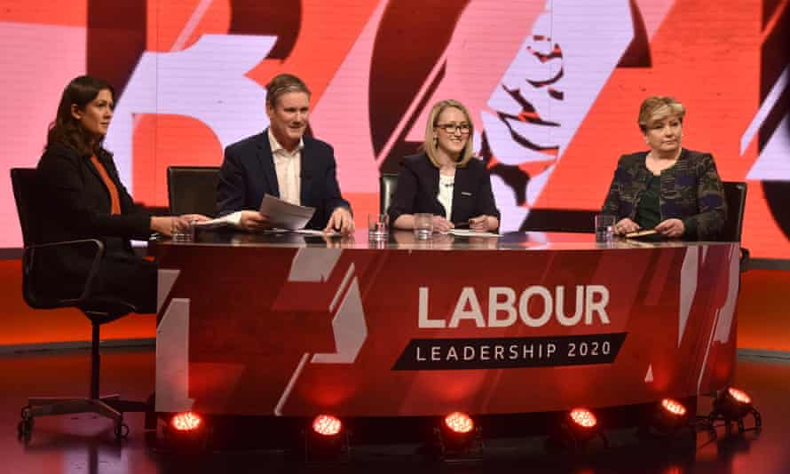 Lisa Nandy, Keir Starmer, Rebecca Long-Bailey and Emily Thornberry attend the first televised Labour leadership debate.