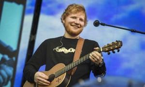 New man … Ed Sheeran in concert in Helsinki on 23 July.