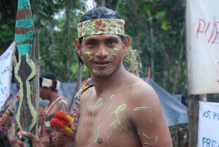José Fachín at a protest on the River Tigre in the Peruvian Amazon in 2015.