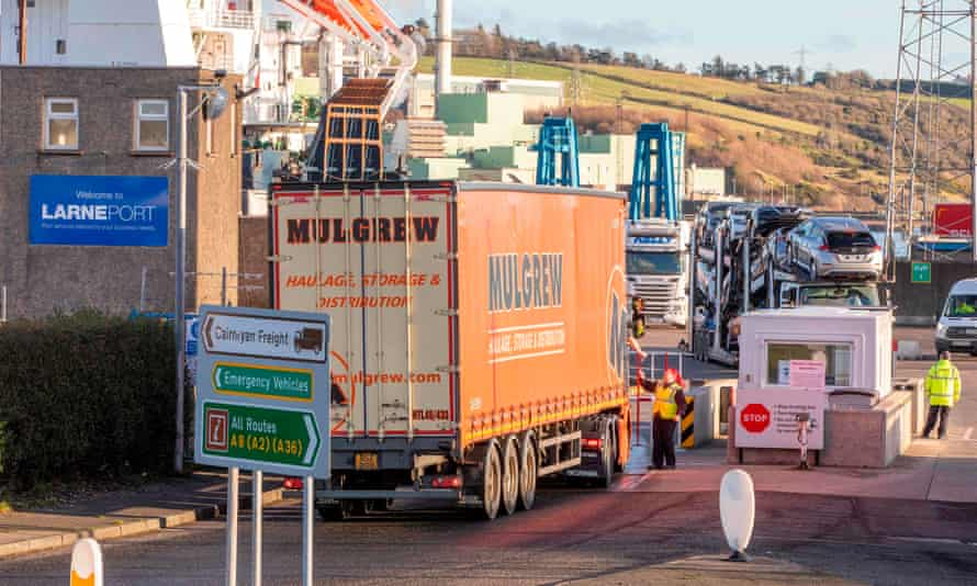 A lorry passes through security at the Port of Larne in Co Antrim, Northern Ireland.