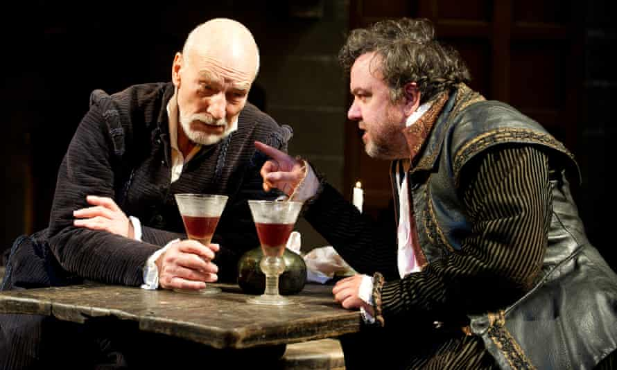 Patrick Stewart as William Shakespeare and Richard McCabe as Ben Johnson at the Young Vic, 2012.