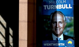 A poster in the window of Malcolm Turnbull's electoral office in Sydney