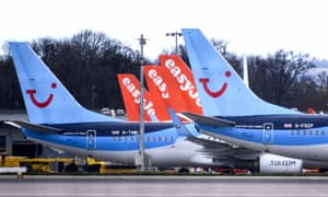 Grounded EasyJet and Tui planes at Gatwick airport in April.