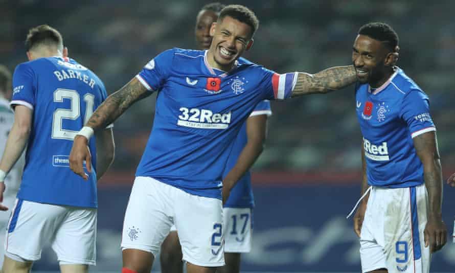 Rangers captain James Tavernier of Rangers celebrates after scoring his team's eighth goal with Jermain Defoe.