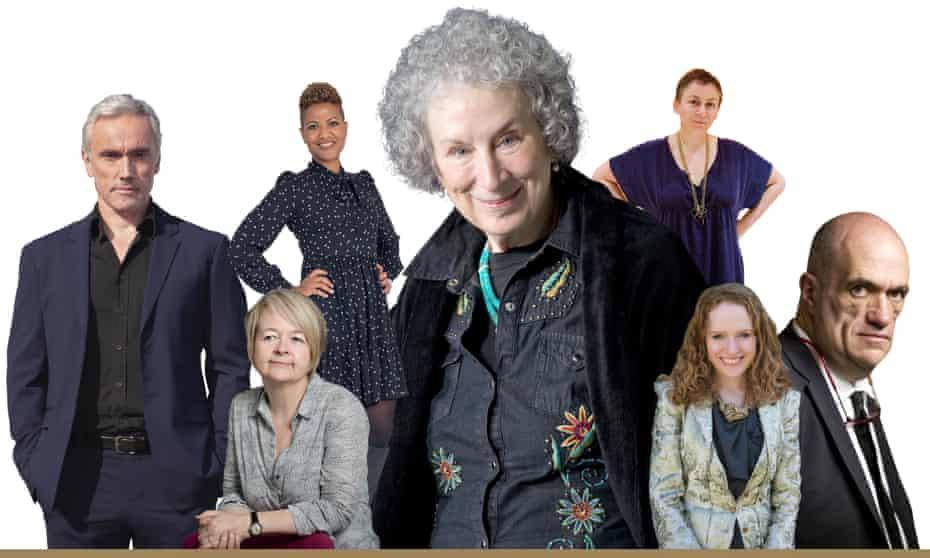 From left; Ben Miles, Sarah Waters, Sara Collins, Margaret Atwood, Anne Enright, Kate Williams, Colm Tóibín.
