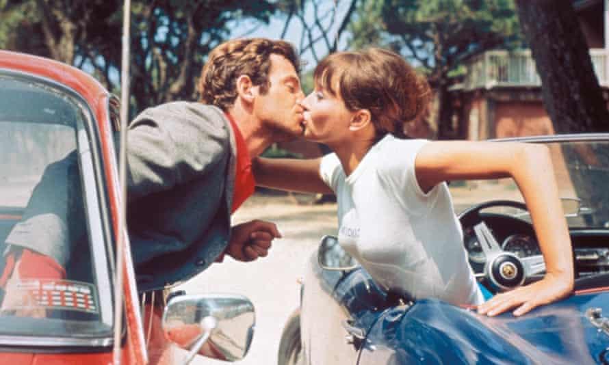 Karina with Jean-Paul Belmondo in Pierrot le Fou, 1965.