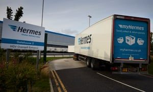 The Hermes parcel delivery company's distribution base off the M62 at Burtonwood, Cheshire