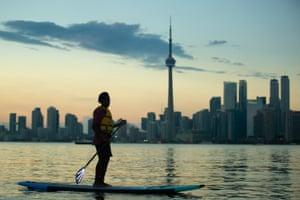 Sunset paddleboarding.