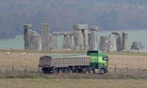 Traffic passing Stonehenge
