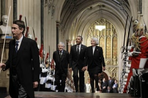 Then US president Barack Obama, accompanied by John Bercow and the House of Lords Speaker, Baroness Hayman, arrive at the Houses of Parliament in 2011