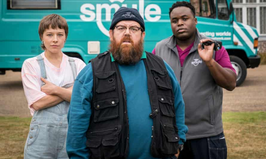 Who you gonna call? ... Emma D'Arcy, Nick Frost and Samson Kayo in Truth Seekers. Photograph: Colin Hutton/Stolen Pictures/Amazon Prime Video