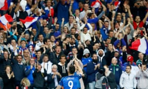Olivier Giroud with the delirious French fans after scoring their fifth goal of the match.