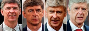 The changing face of Wenger at Arsenal.