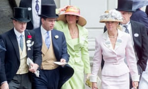 Prince Andrew with Jeffrey Epstein, far right, and Ghislaine Maxwell, centre, at Royal Ascot in 2000.