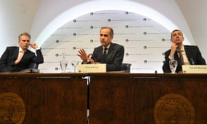 Mark Carney speaks during the central bank's quarterly inflation report press conference in the City of London.