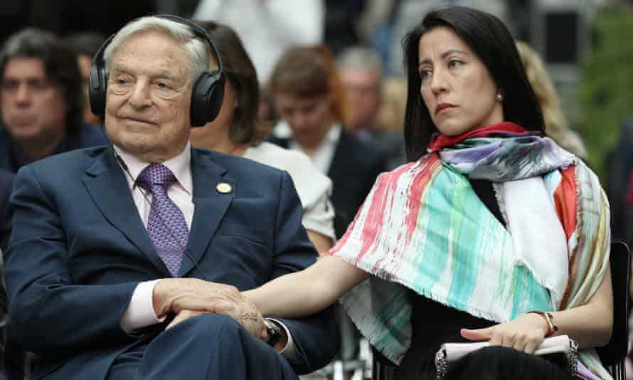 George Soros with his wife, Tamiko Bolton, at the opening of the European Roma Institute for Arts and Culture in 2017