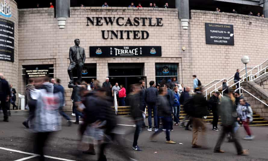 Newcastle United fans outside St James' Park.