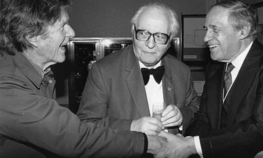 John Cage, Olivier Messiaen and Pierre Boulez greet each other in Huddersfield on 26 November 1989