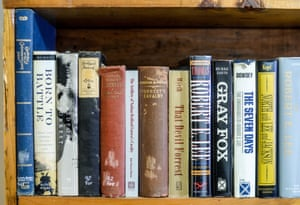 Larry McCluney's home office. His favorite Mississippi history book is from 1900.