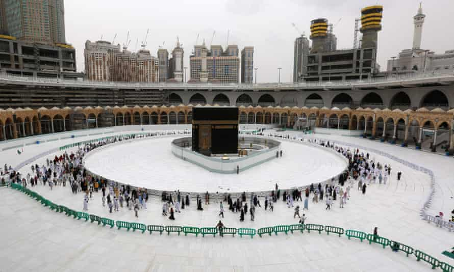 Worshippers walk around the Ka'bah in Mecca's Grand Mosque