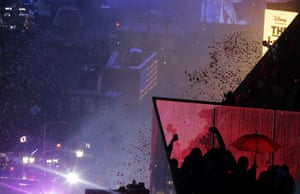 Confetti drops over Times Square on New Year's Eve.