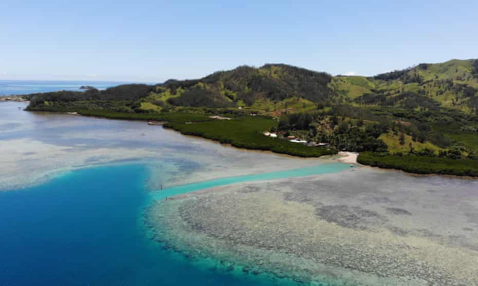 Damage to the reef is clear from the air above Malolo Island in Fiji.