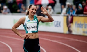 Jessica Ennis-Hill reacts after the 400m race in Ratingen, Germany.