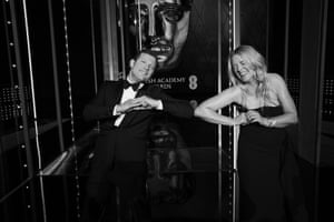 Derrmot O'Leary and Edith Bowman maintaining social distance after successfully presenting the ceremony.
