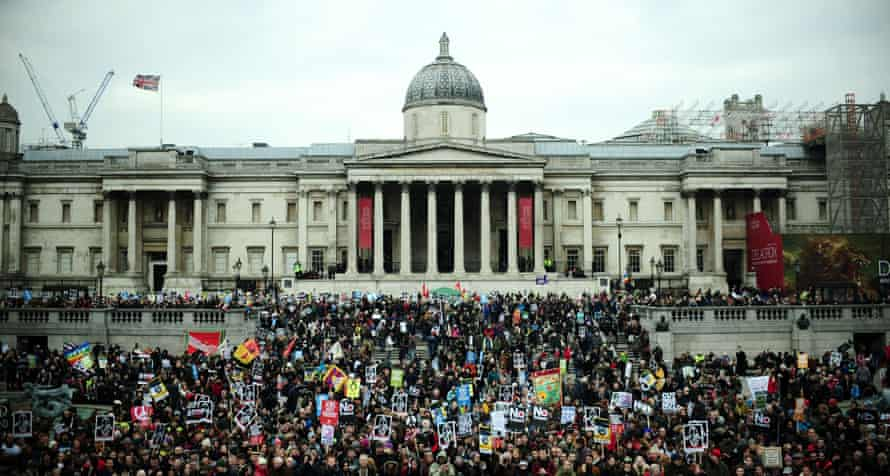Protesters gather in Trafalgar Square.