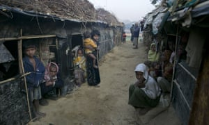 Rohingya refugee children at a makeshift camp in Cox's Bazar, Bangladesh