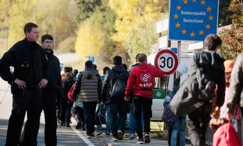 Refugees entering Germany