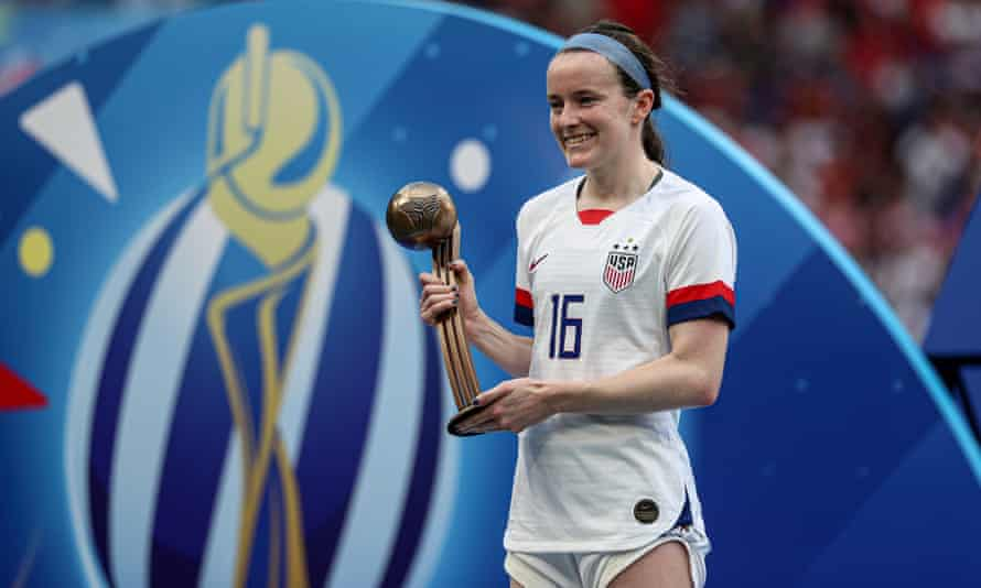 USA's player of the match Rose Lavelle with the trophy