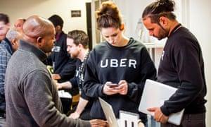 Inside Uber's London driver service centre.