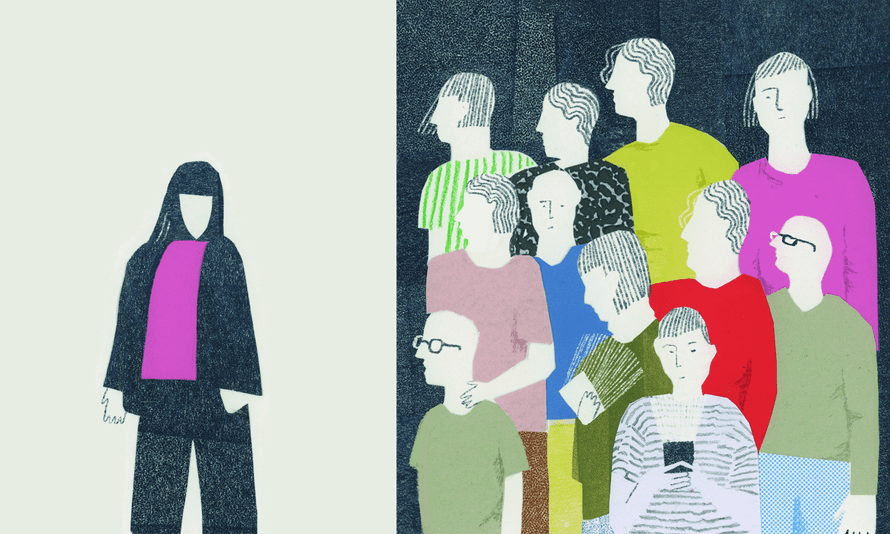 Illustration of a woman standing alone with a crowd staring at her