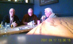 A still image from a police surveillance video showing John Collins, Terry Perkins and Brian Reader in the Castle public house, London.
