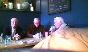 John Collins, Terry Perkins and Brian Reader in the Castle pub, Pentonville Road, London.
