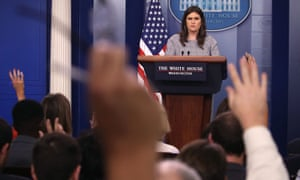 White House press secretary Sarah Huckabee Sanders speaks to the media.