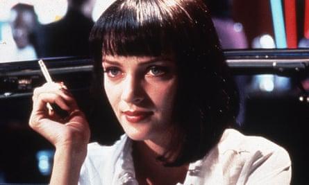 Uma Thurman smokes a cigarette in Pulp Fiction