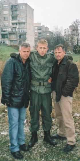 Luka Modric with his uncle and father during mandatory military service.