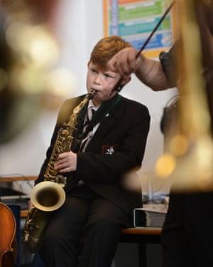 Band practice at Pates Grammar School in Cheltenham.