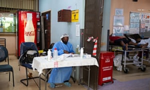 Security at the entrance of the A&E ward at George Mukhari Academic Hospital in Ga-Rankuwa, South Africa.