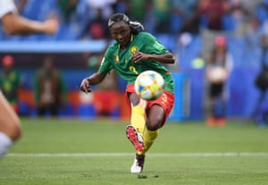 Ajara Nchout of Cameroon scores her team's second goal.